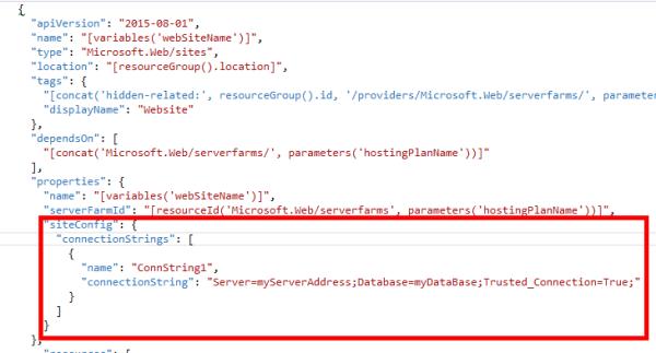 AzureWebAppARMTemplateWebsiteSectionScreenshotWithConnectionStrings