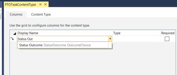 Content Type- Add outcome choice column
