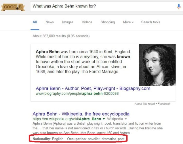 Snippetkb Example What Aphra Behn Known For 1