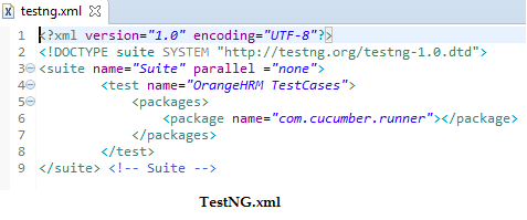 Create the TestNG xml for the project