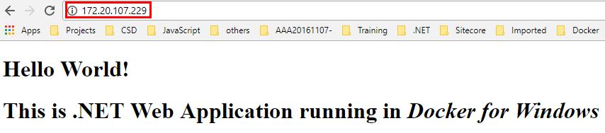 ASP Net Application Deployment in Docker for Windows
