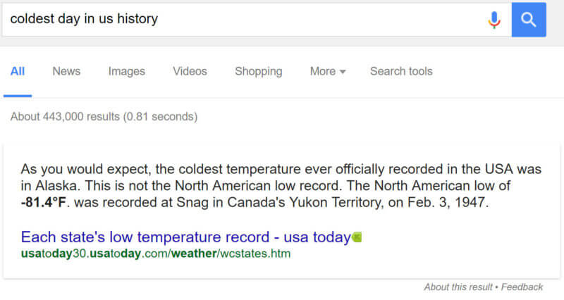 Screenshot of a Featured Snippet showing the coldest day in the US history