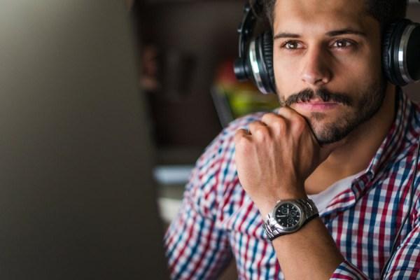 Man Headphones Computer