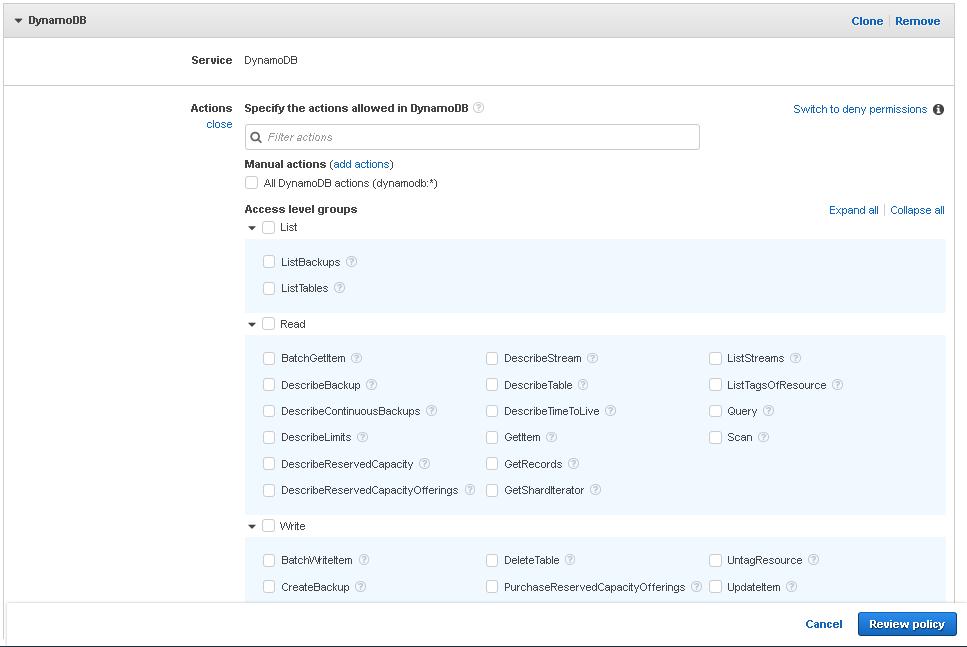 Amazon Connect: Minimum Lambda Permissions for DynamoDb