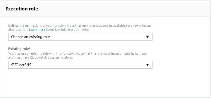 Lambda execution role configuration