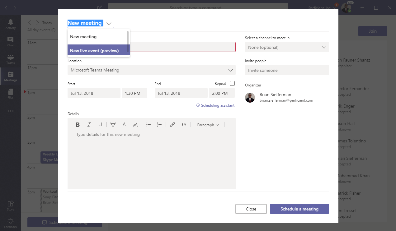 Live Events in Microsoft Teams - Perficient Blogs