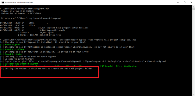 screenshot of command prompt asking where to create our project