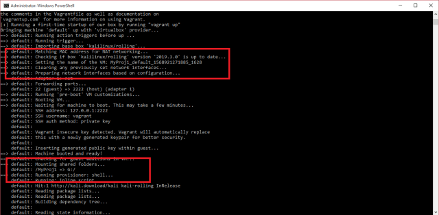 """screenshot of the ongoing """"vagrant up"""" operation"""