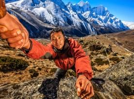 "Nepali ""everest Sherpa"" Climbing In Himalayas"