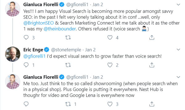 Ginaluca Fiorelli and Eric Enge's opinion on Visual search growth to be faster than voice