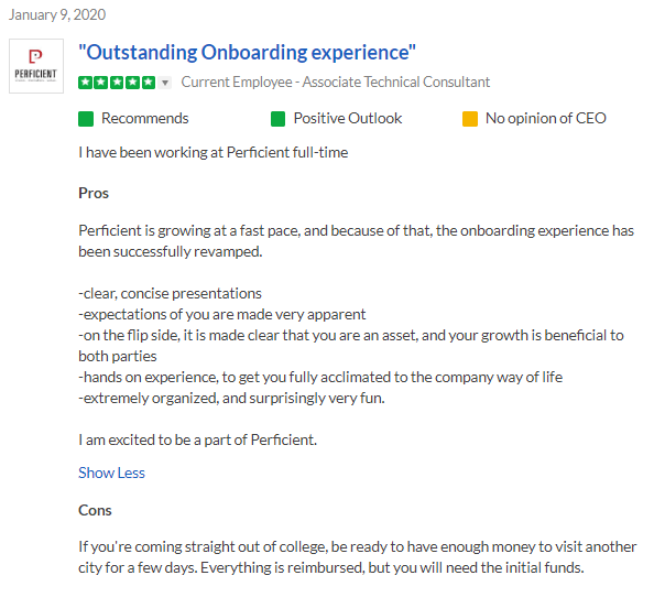 Outstanding Onboarding At Perficient