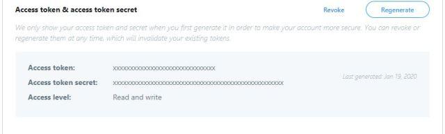 Twitter – Access token: