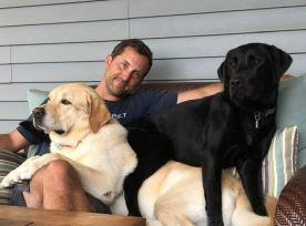 Senior Solutions Architect Christopher Fougere with his dogs, Stanley and Deke