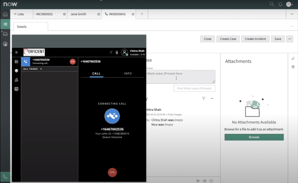 Twilio Iframe in focus showing outgoing call.