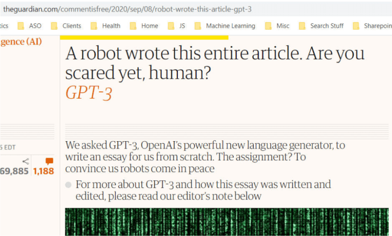 Screenshot 1 The Guardian Article Written By Gpt 3