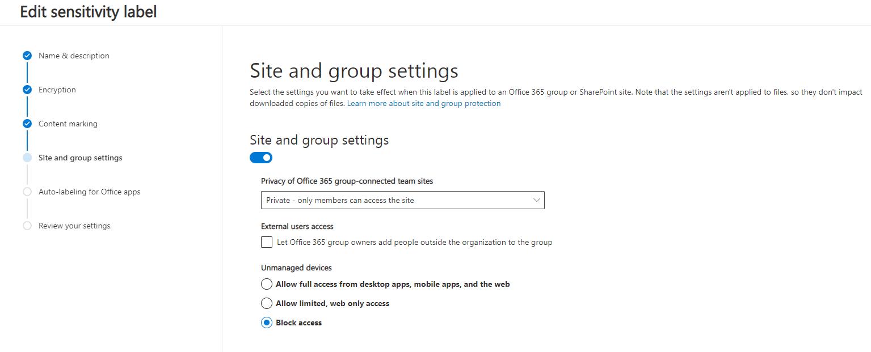 Siteandgroupsettings