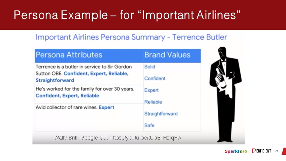 An example of persona summay of an upscale airpline business