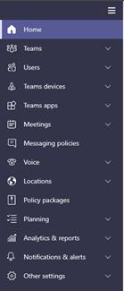 Screen grab of Teams Admin Center left navigation