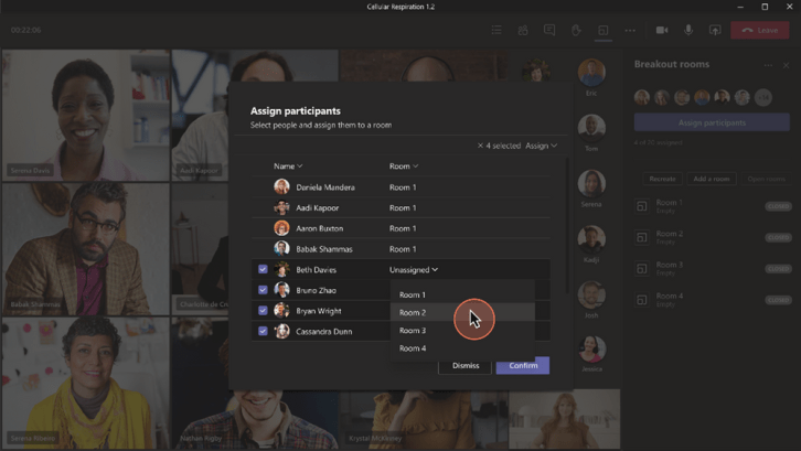 Screengrab of Microsoft Teams Updated Breakout Rooms pop out window