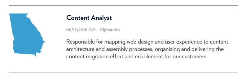 Content Analyst Job Listing Example