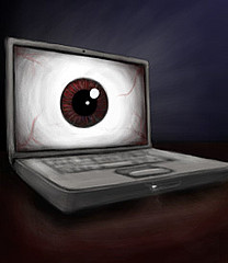 Laptop with eye filling entire screen