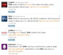 Screen shot of Twitter tweets on bin Laden DNA