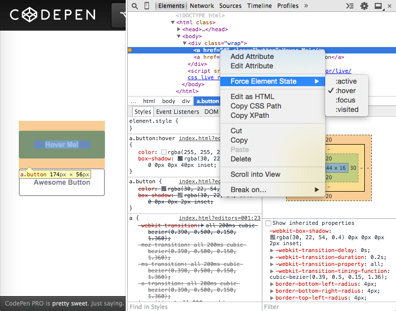 Chrome DevTools Force Element State