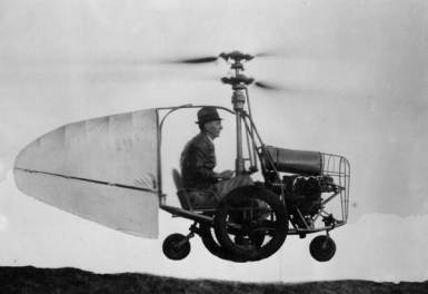 A fine and upright gentle man flying in a small helicopter like vehicle.