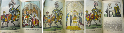Opening leaves of the 1820, 1821, and 1824 editions of Harry Herald, showing the progressively diminishing royal presence.