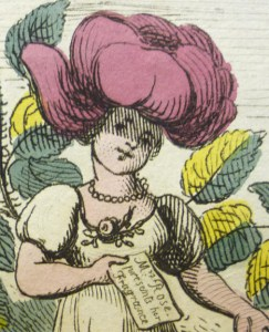 Detail of Mrs Rose, with her invitation plainly legible: Mrs Rose presents her Fragrance.