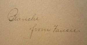 Gift Inscription: Blanche, from Fansie.