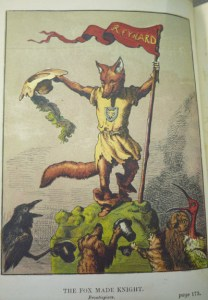 """Frontispiece, """"The Fox Made Knight,"""" by Griset, showing Reynard in action."""