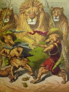 "Plate facing p. 154: ""The Fox Throws Down His Gage"" challenging the wolf in front of King Lion."