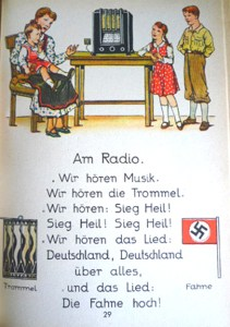 Illustration from 1941 edition, showing a family listening to a war-time radio broadcast