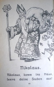 St Nikolaus returns, here with cozier and miter, printed in black-and-white, presumably due to post-war austerity