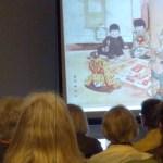 Setsuko Noguchi discussing Japanese Suguroku picture games at workshop