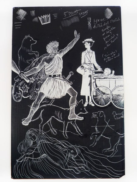 A scratchboard drawing for Mary Poppins in Cherry Tree Lane by Mary Shepard showing Mary Poppins along with some of the other characters in the story, who are constellations: Ursa Major (the bear), Orion, and Vulpecula (the fox). Box 5, Folder 18.