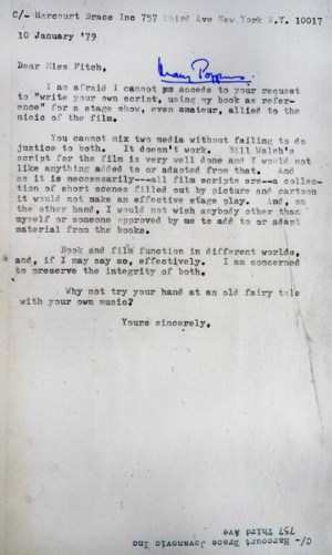"Travers refuses permission to adapt Mary Poppins into a play. She writes ""You cannot mix two media without failing to do justice to both. It doesn't work"". (Box 1, File 5)"