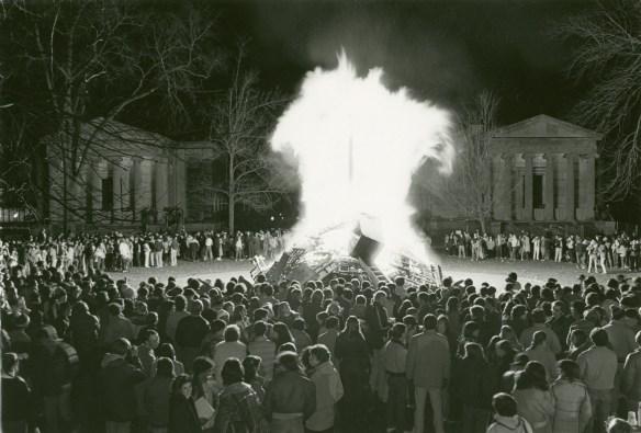 Huge flames during the 1981 bonfire.