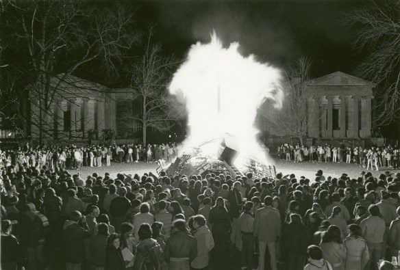 Huge flames during the 1981 bonfire.