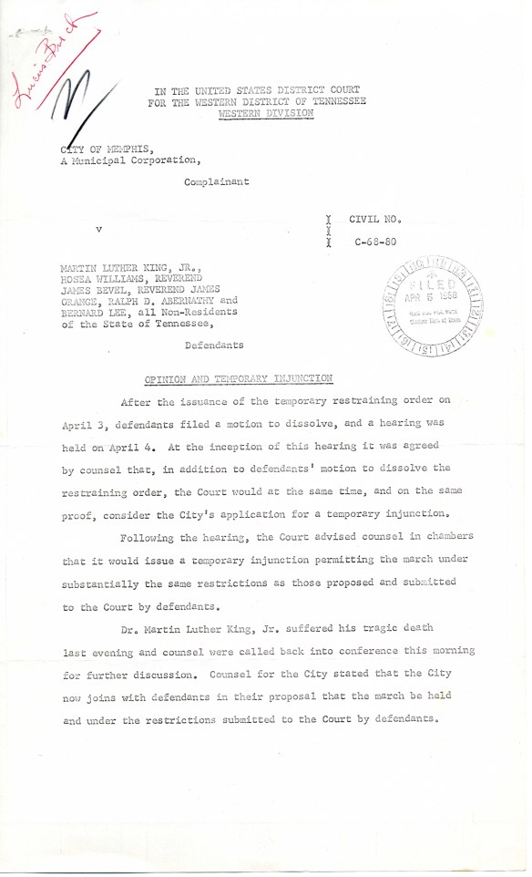 Opinion and Temporary Injunction (page 1), ACLU Records, Subgroup 2, Box 656, Folder 2
