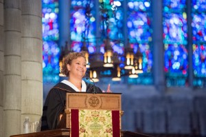 Jackson speaks from the pulpit high above the chapel floor. Her remarks focused on lessons students learned at the University that will shape the rest of their lives. Photo: Princeton University, Office of Communications, Denise Applewhite (2015)