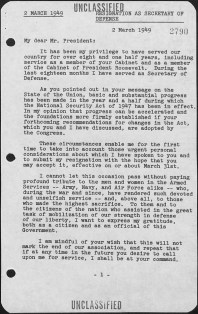 First page of Forrestal's letter resigning as Secretary of Defense. James V. Forrestal Papers (MC051), Box 151. http://findingaids.princeton.edu/collections/MC051/c05118