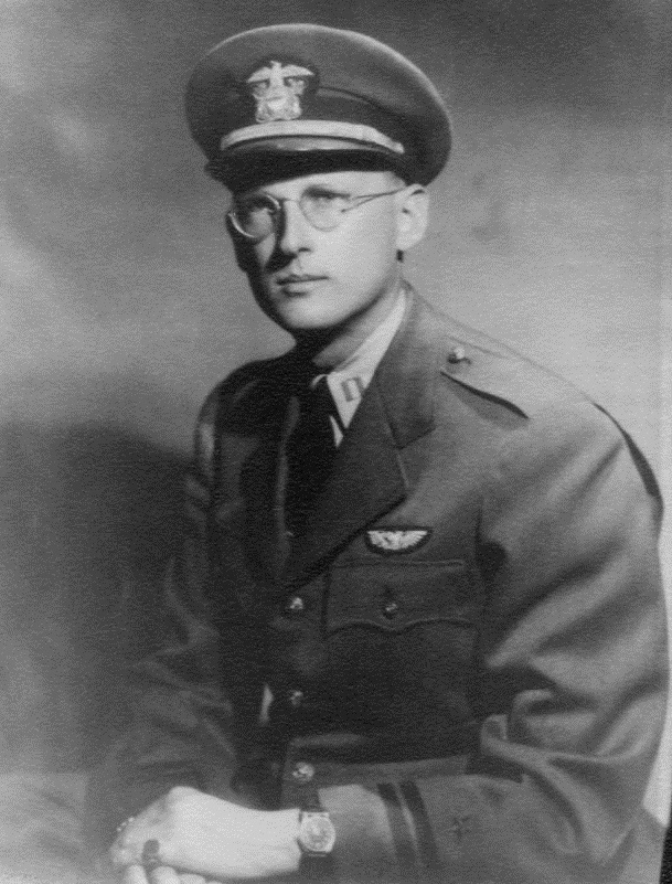 Urban Joseph Peters Rushton '36, founder of the Executive Committee of the Veterans of Future Wars, ca. 1943. Rushton served as a Lieutenant in the Navy's Naval Air Transport Service during World War II. Photo from Undergraduate Alumni Records (AC199), Box 140.