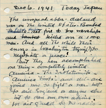 Margaret_Dodds_Pearl_Harbor_diary_entry_AC117_Box_179_Folder_8