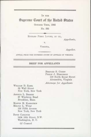 Cover page of the Supreme Court brief filed by the ACLU. American Civil Liberties Union Records: Subgroup 2, Project Files Series (MC001.02.02), Box 672, Folder 8