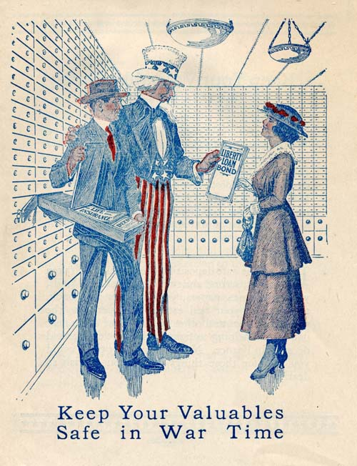 "Drawing of Uncle Sam standing next to a banker opening a safety deposit box in front of a woman. The woman is handing a ""Liberty Loan Bond"" to Uncle Sam."