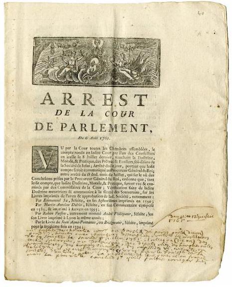 1761.Arret.banning.Jesuit.books