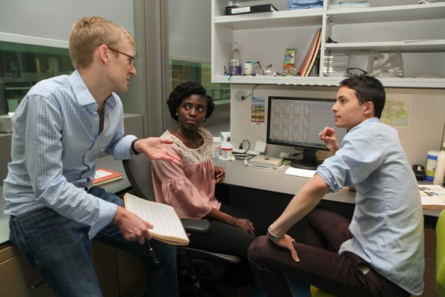 Princeton University researchers Buz Barstow (left), graduate student Kemi Adesina and undergraduate researcher Isao Anzai '17,