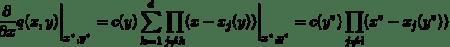 \[\frac{\partial}{\partial x}q(x,y)\bigg|_{x^*,y^*} = c(y)\sum_{k=1}^d\prod_{j\ne k} (x-x_j(y))\bigg|_{x^*,y^*} = c(y^*)\prod_{j\ne i} (x^*-x_j(y^*)),\]